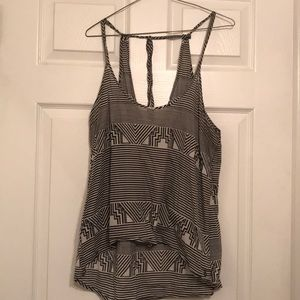 High low volcom black and white striped tank L